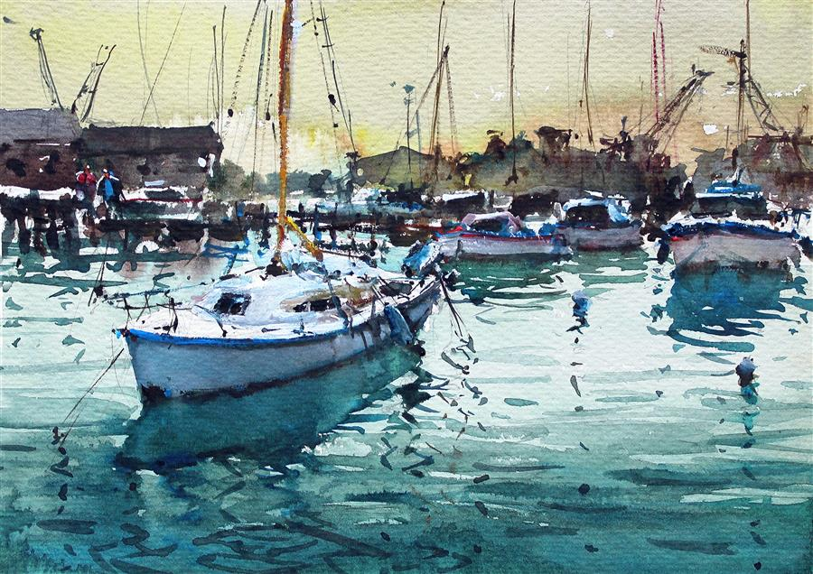 Discover Original Art by Maximilian Damico | Docking Sailing Boats II watercolor painting | Art for Sale Online at UGallery
