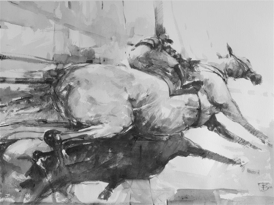 Discover Original Art by Tony Belobrajdic | At the Races drawing artwork | Art for Sale Online at UGallery