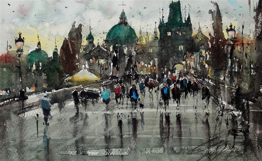 Discover Original Art by Maximilian Damico | Prague Bridge at Night watercolor painting | Art for Sale Online at UGallery