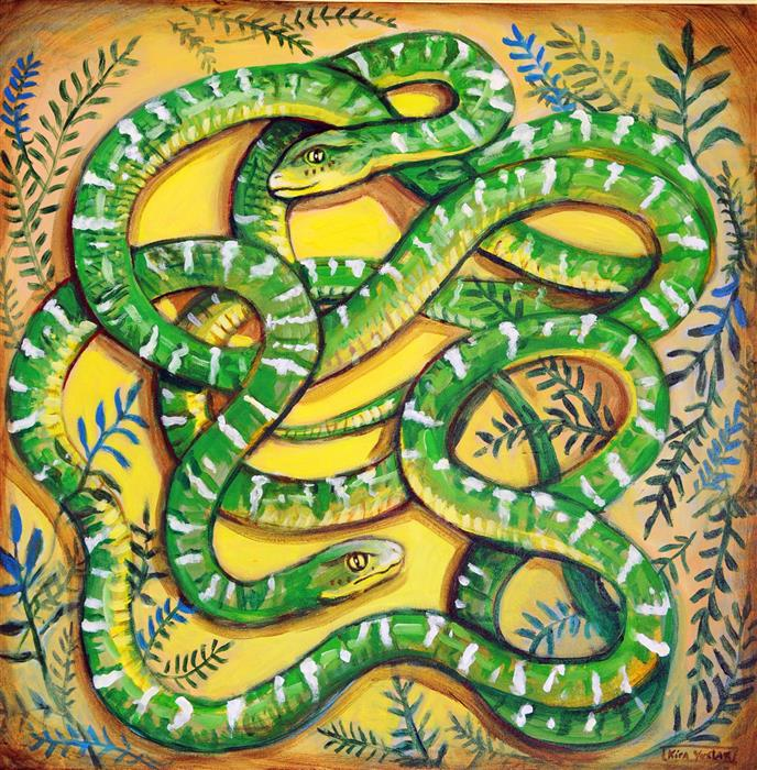 Discover Original Art by Kira Yustak | Green Snakes acrylic painting | Art for Sale Online at UGallery