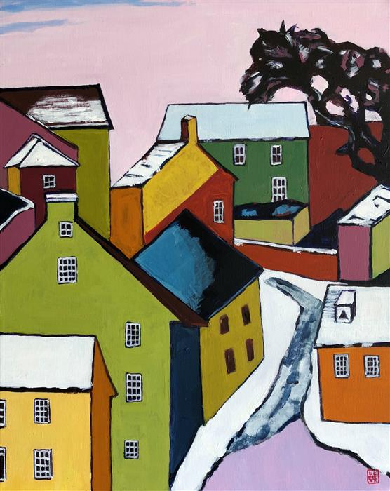 Discover Original Art by Laura (Yi Zhen) Chen | Snow Covered Town acrylic painting | Art for Sale Online at UGallery
