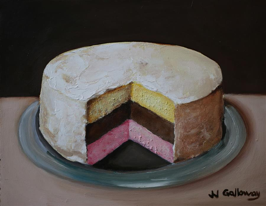 Discover Original Art By JJ Galloway | Neapolitan Cake III Oil Painting |  Art For Sale
