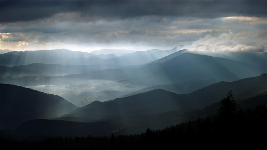 Discover Original Art by Michael Lesiv | Black Mountains Sunbeams photography | Art for Sale Online at UGallery