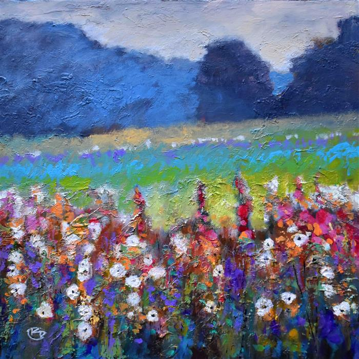 Discover Original Art by Kip Decker | Hollyhocks In A Field acrylic painting | Art for Sale Online at UGallery