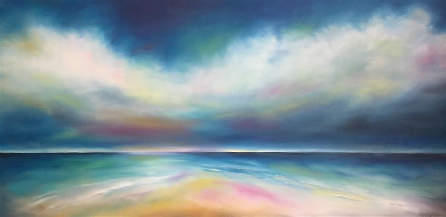 Discover Original Art by Nancy Hughes Miller | Onshore Clouds oil painting | Art for Sale Online at UGallery