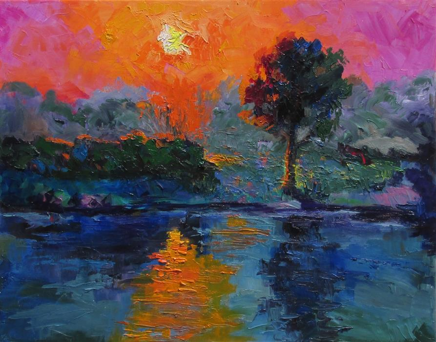 Discover Original Art by Weldon Ball | The Pond at Last Light oil painting | Art for Sale Online at UGallery