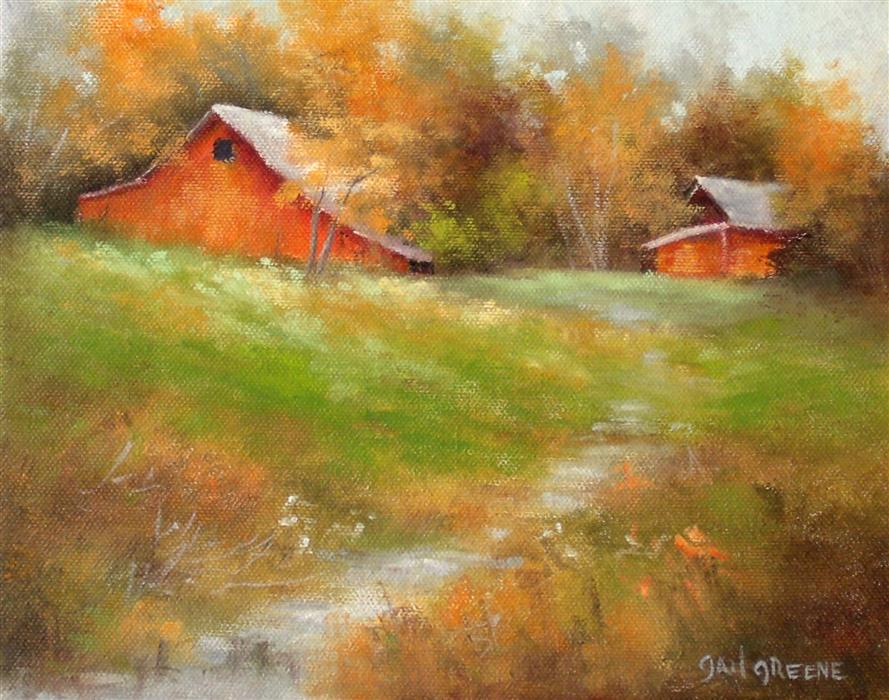 Discover Original Art by Gail Greene | Red Barns oil painting | Art for Sale Online at UGallery