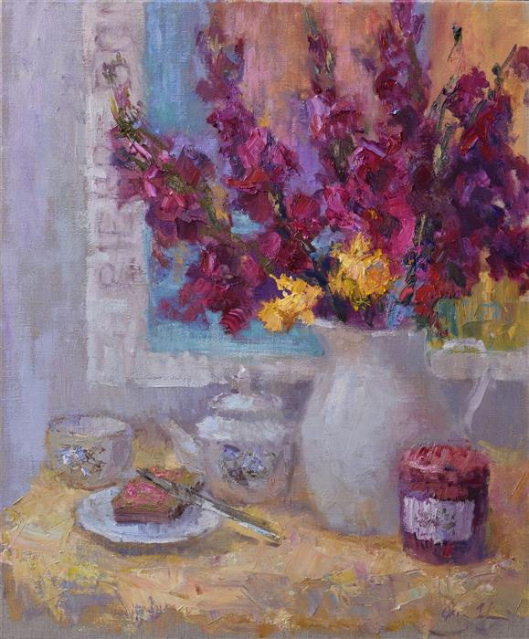 Discover Original Art by Oksana Johnson | Tea with Jam oil painting | Art for Sale Online at UGallery