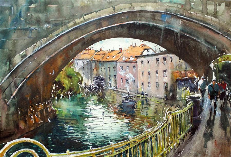 Discover Original Art by Maximilian Damico | Prague Under Bridge watercolor painting | Art for Sale Online at UGallery