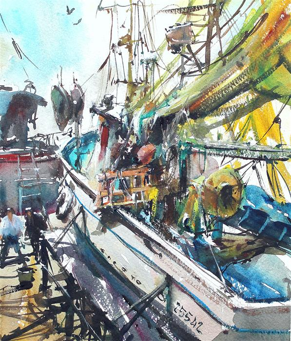 Discover Original Art by Maximilian Damico | Fishing Boats in Amalfi watercolor painting | Art for Sale Online at UGallery