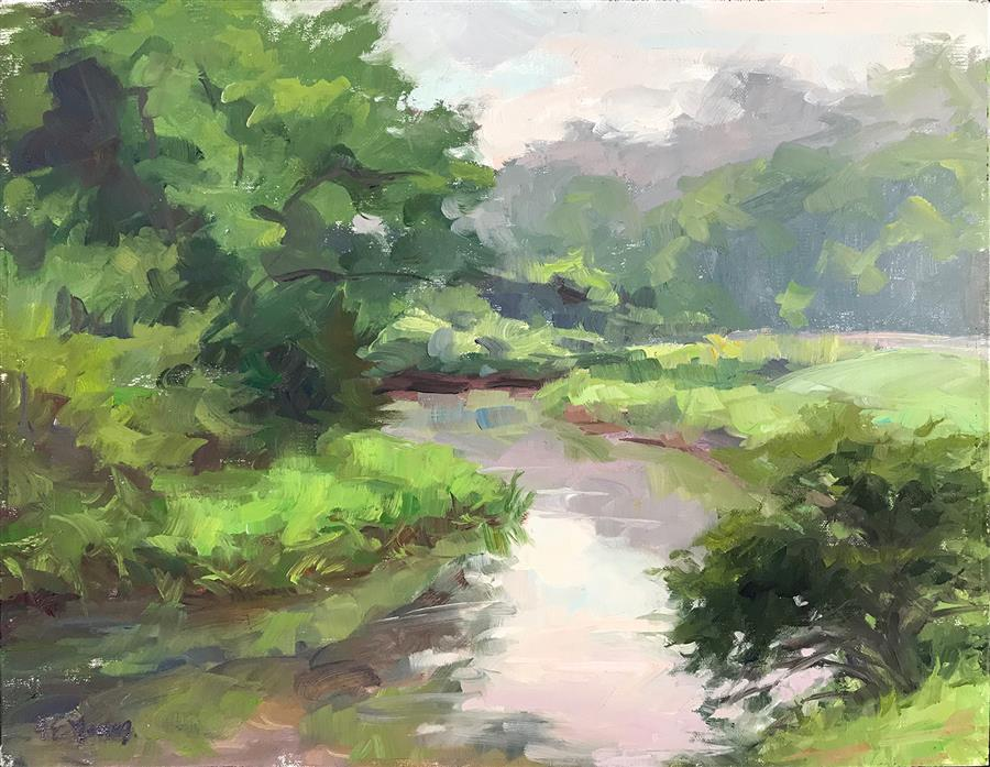 Discover Original Art by Jennifer Young | Purple Haze, Rakes Mill Pond oil painting | Art for Sale Online at UGallery