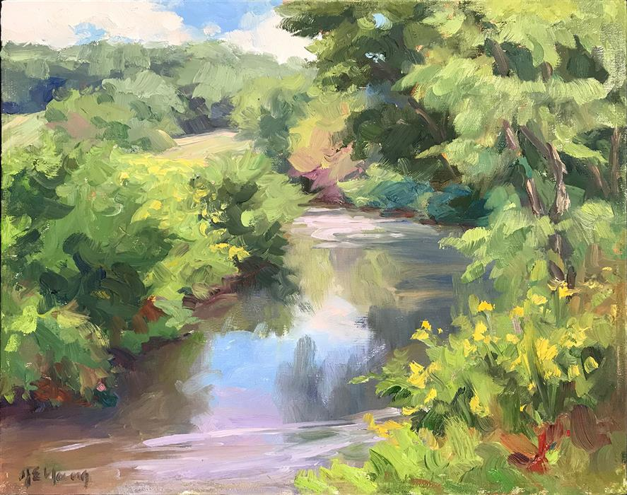 Discover Original Art by Jennifer Young | Little River at Riverstone Farm oil painting | Art for Sale Online at UGallery