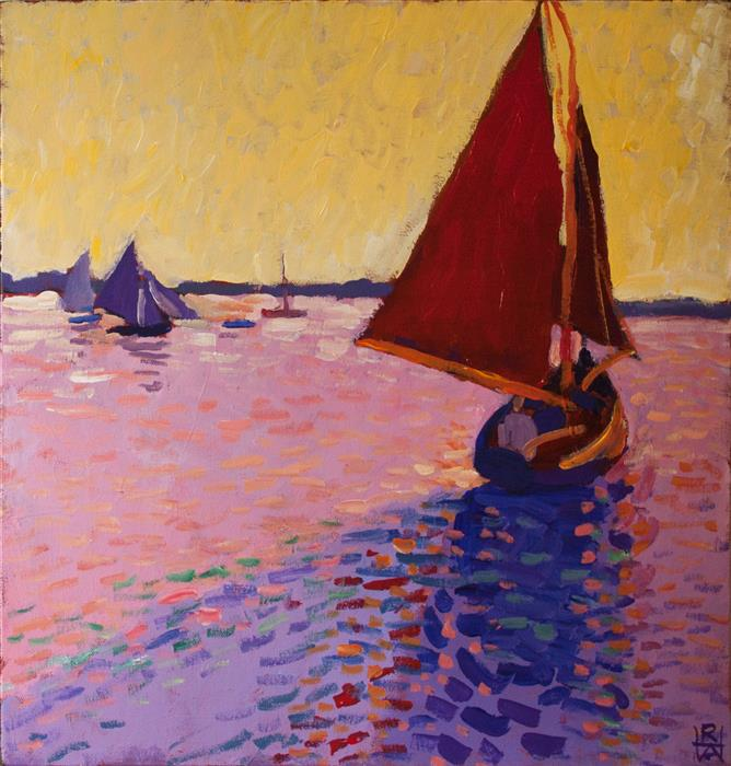 Discover Original Art by Robert Hofherr | Red Sails acrylic painting | Art for Sale Online at UGallery