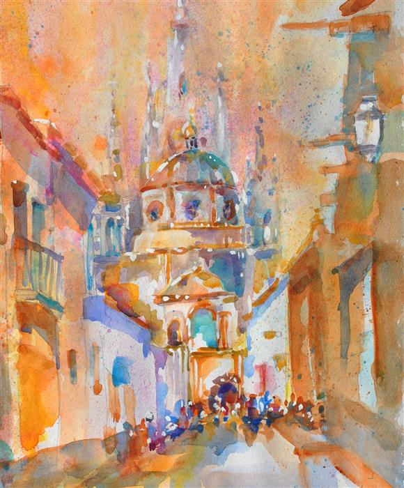 Discover Original Art by Lanie Widmar | San Miguel d'Állende Parroquia watercolor painting | Art for Sale Online at UGallery