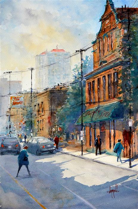 Discover Original Art by Judy Mudd | Summer in the City watercolor painting | Art for Sale Online at UGallery