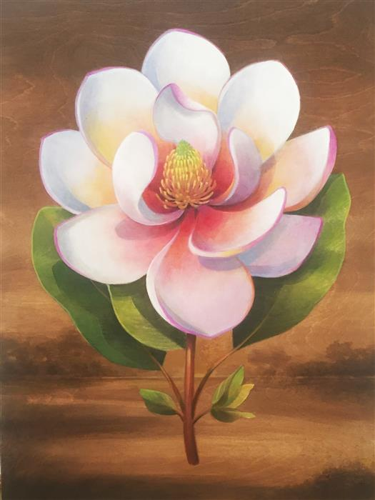 Discover Original Art by Johnny Karwan | Magnolia Landscape acrylic painting | Art for Sale Online at UGallery