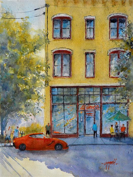 Discover Original Art by Judy Mudd | Summer in the City II watercolor painting | Art for Sale Online at UGallery