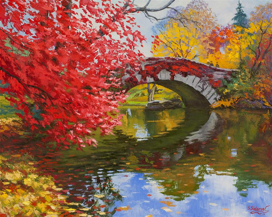 Discover Original Art by Stanislav Sidorov | Gapstow Bridge, Autumn Leaves oil painting | Art for Sale Online at UGallery
