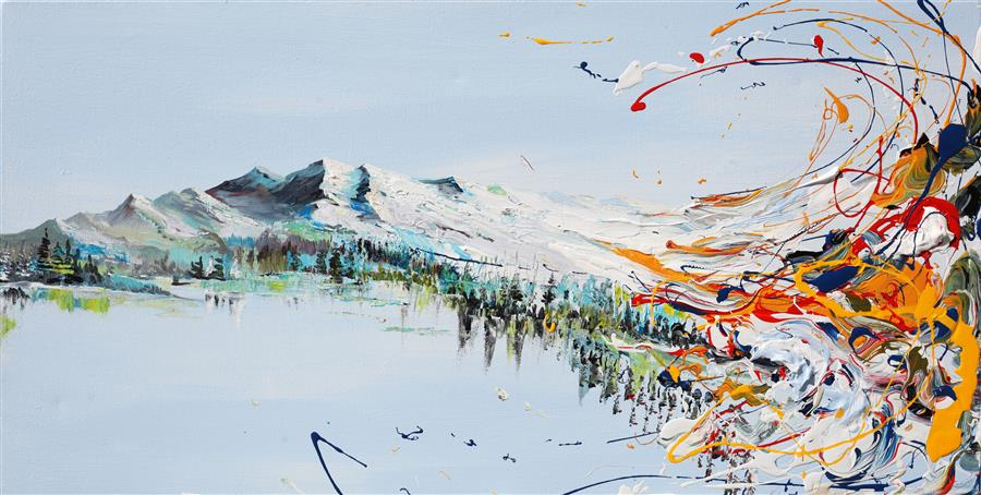 Discover Original Art by Piero Manrique | Mountains Flow acrylic painting | Art for Sale Online at UGallery