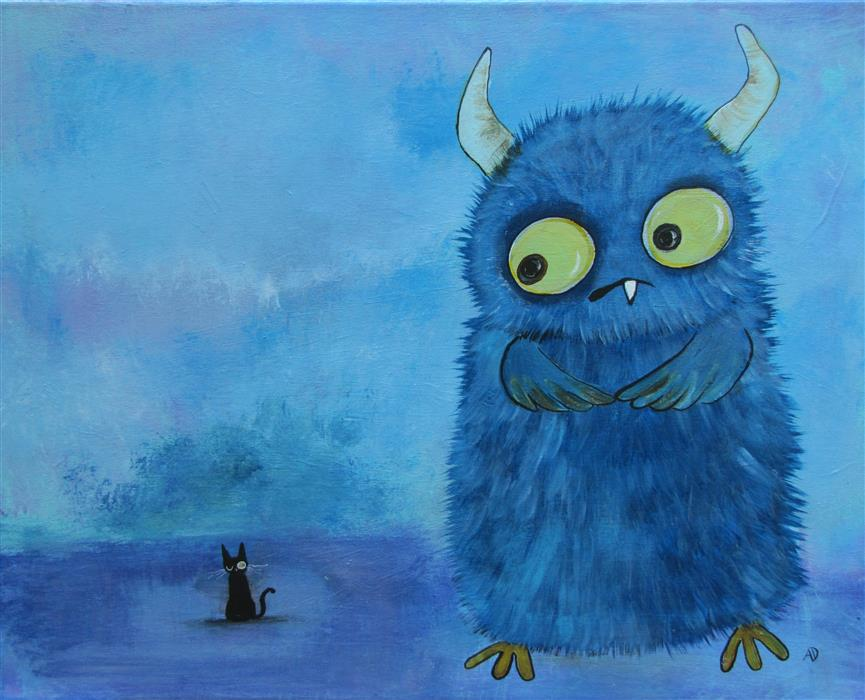 Discover Original Art by Andrea Doss | Gerald and The New Friend acrylic painting | Art for Sale Online at UGallery