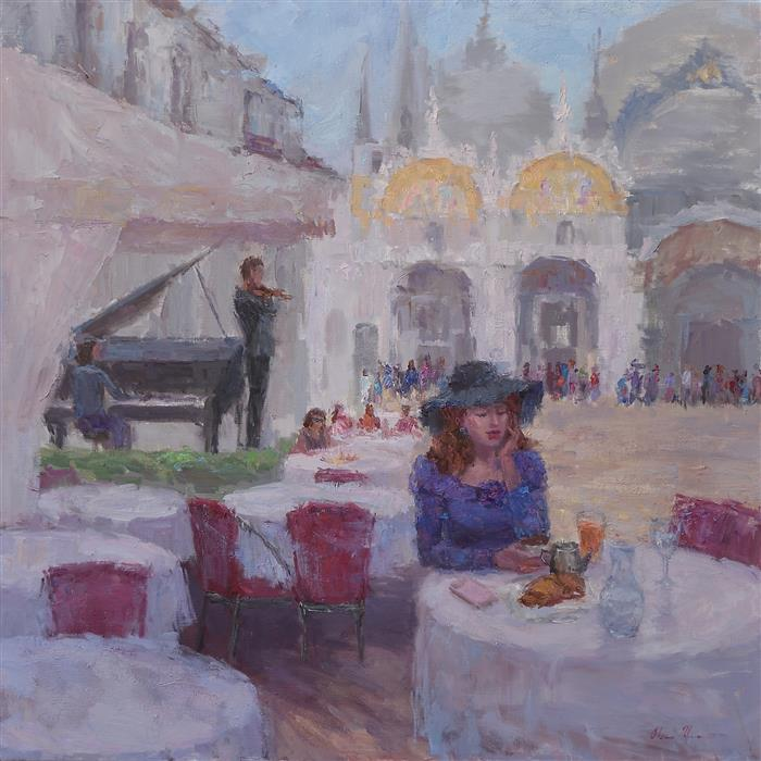 Discover Original Art by Oksana Johnson | Breakfast on Piazza San Marco oil painting | Art for Sale Online at UGallery