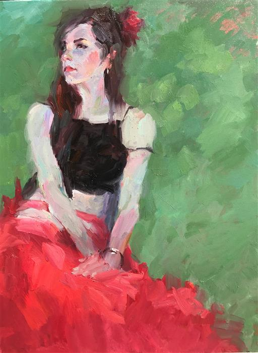 Discover Original Art by Brian Zheng | Red Skirt oil painting | Art for Sale Online at UGallery