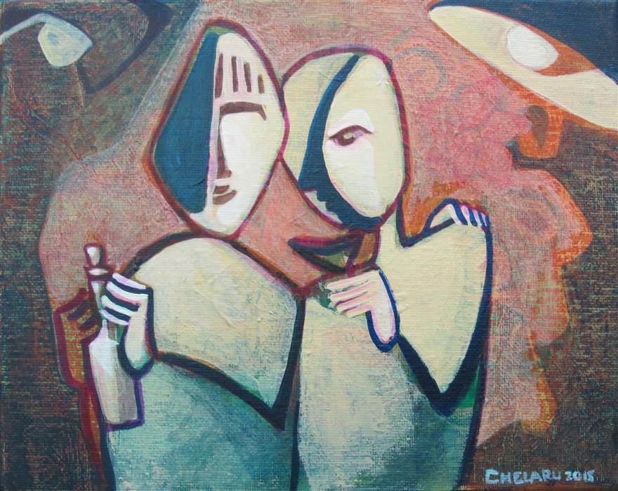 Discover Original Art by Diana Elena Chelaru | Sharing a Drink acrylic painting | Art for Sale Online at UGallery