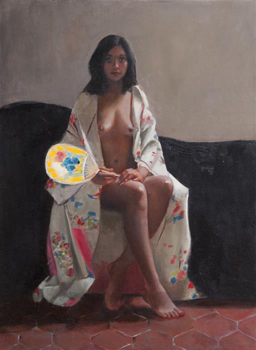 Discover Original Art by John Kelly | Woman with Fan oil painting | Art for Sale Online at UGallery