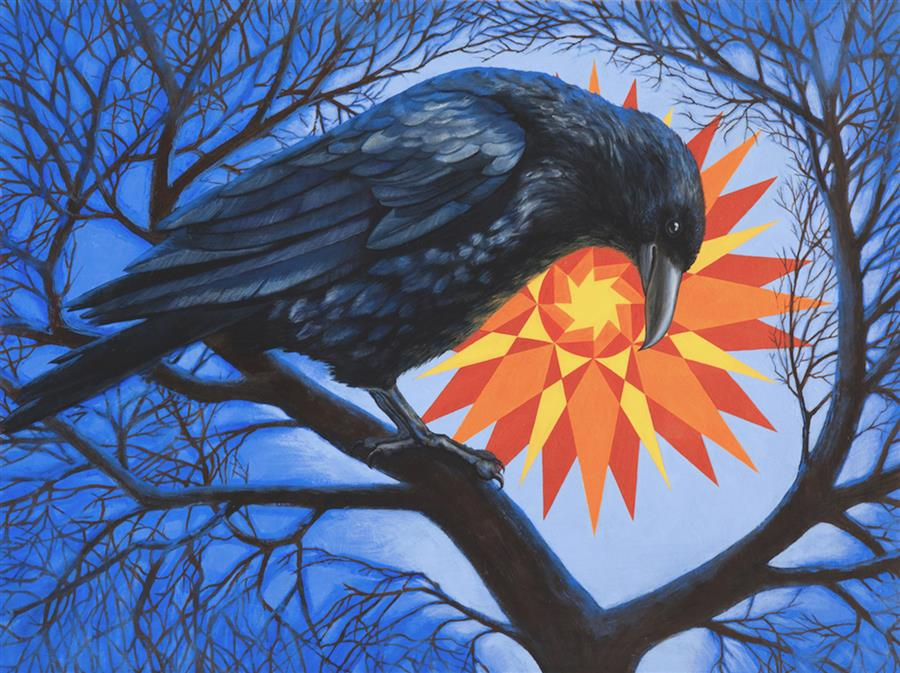 Discover Original Art by Jennifer Wildermuth Reyes | Corvus con Sol oil painting | Art for Sale Online at UGallery