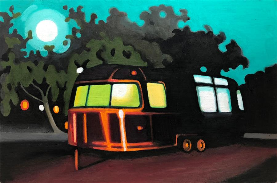 Discover Original Art by Hadley Northrop | Moonlight Airstream oil painting | Art for Sale Online at UGallery