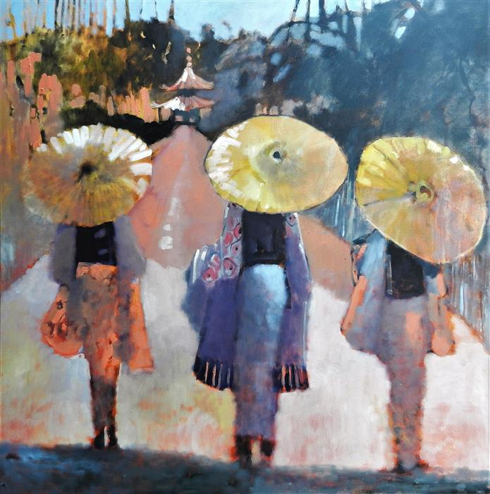 Discover Original Art by Mary Pratt | Three Parasols oil painting | Art for Sale Online at UGallery