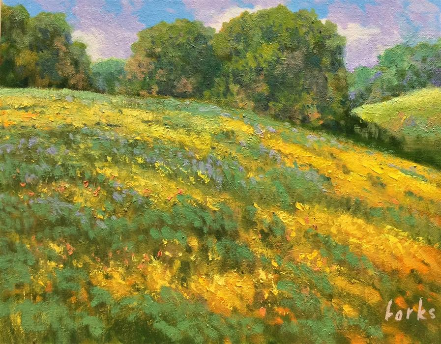 Discover Original Art by David Forks | Hills and Wildflowers oil painting | Art for Sale Online at UGallery