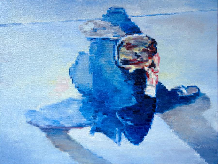 Discover Original Art by Warren Keating | Blue Monday oil painting | Art for Sale Online at UGallery