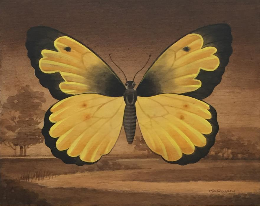 Discover Original Art by Johnny Karwan | Yellow Butterfly Landscape acrylic painting | Art for Sale Online at UGallery