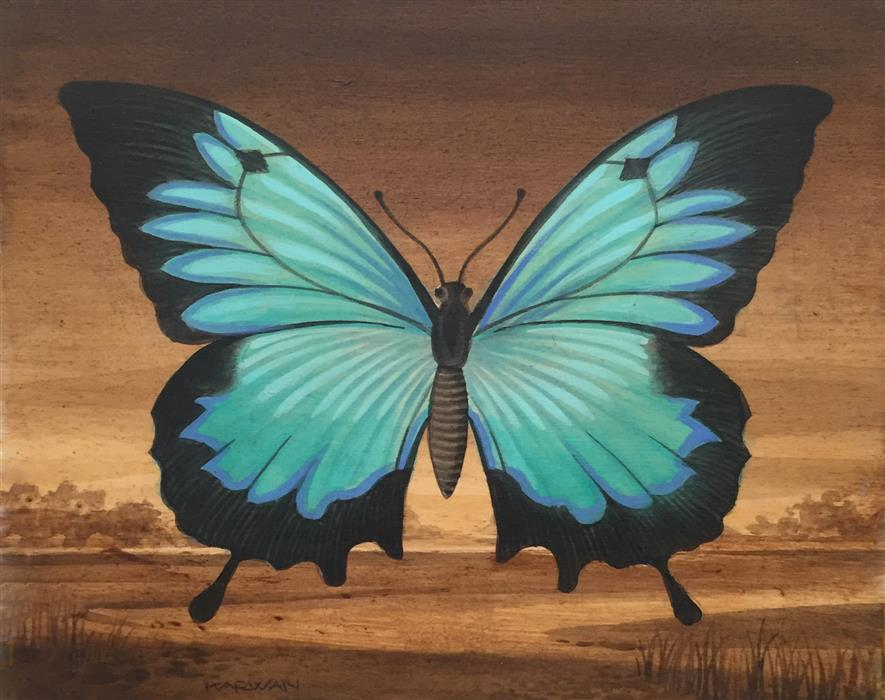 Discover Original Art by Johnny Karwan | Blue Butterfly Landscape acrylic painting | Art for Sale Online at UGallery