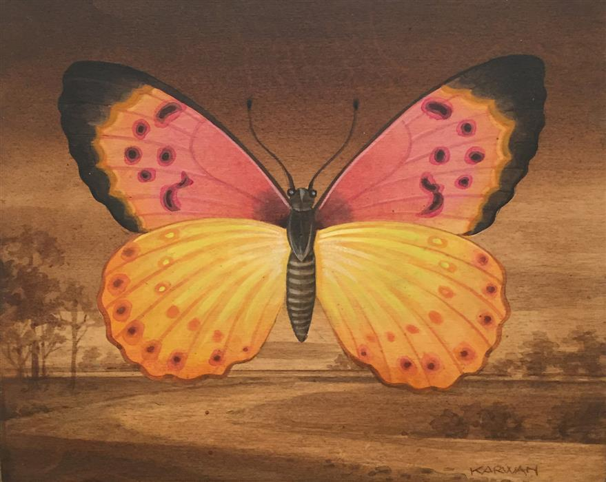 Discover Original Art by Johnny Karwan | Pink and Yellow Butterfly Landscape acrylic painting | Art for Sale Online at UGallery