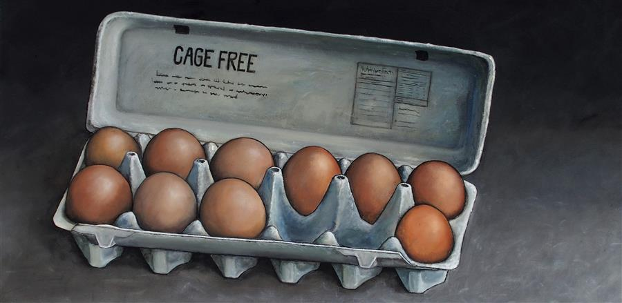 Discover Original Art by Jennifer Ross | Cage Free oil painting | Art for Sale Online at UGallery