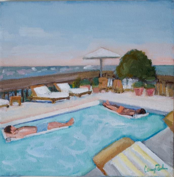 Discover Original Art by Carey Parks | LA Rooftop Pool acrylic painting | Art for Sale Online at UGallery