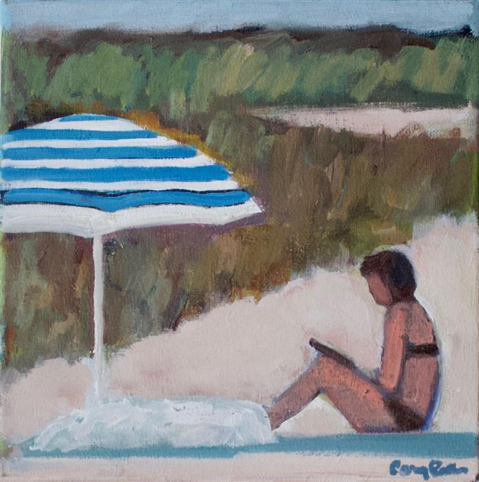 Discover Original Art by Carey Parks | Book at the Beach acrylic painting | Art for Sale Online at UGallery