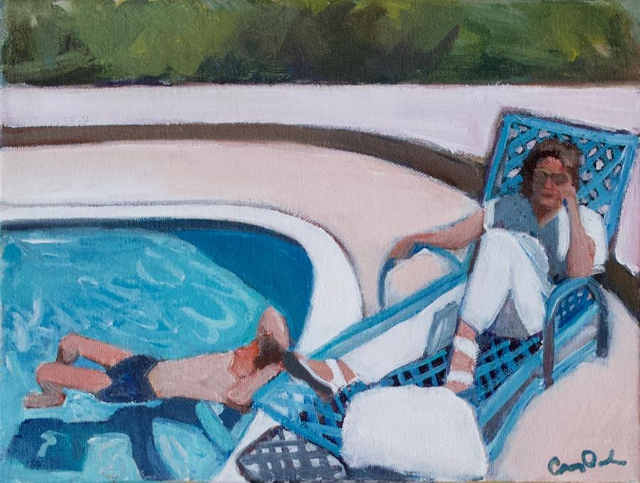 Discover Original Art by Carey Parks | By the Pool acrylic painting | Art for Sale Online at UGallery