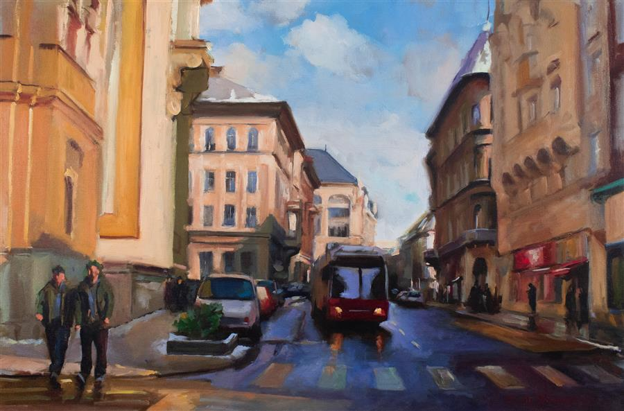 Discover Original Art by Jonelle Summerfield | Street in Budapest oil painting | Art for Sale Online at UGallery