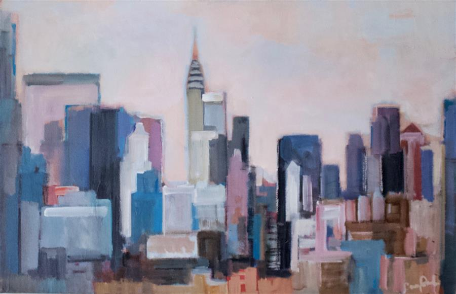 Discover Original Art by Carey Parks | City from a Distance acrylic painting | Art for Sale Online at UGallery
