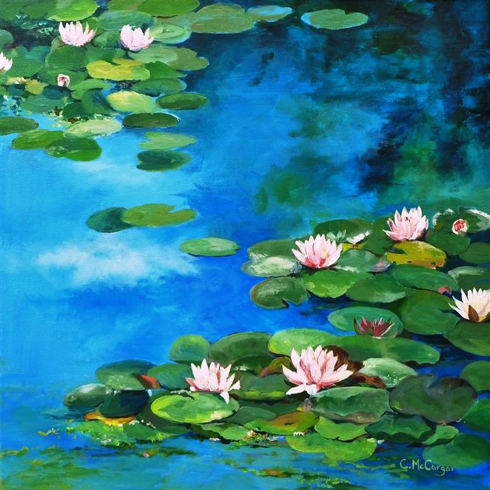 Discover Original Art by Catherine McCargar | Waterlilies acrylic painting | Art for Sale Online at UGallery