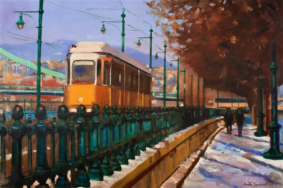 Discover Original Art by Jonelle Summerfield | Streetcar in Budapest oil painting | Art for Sale Online at UGallery