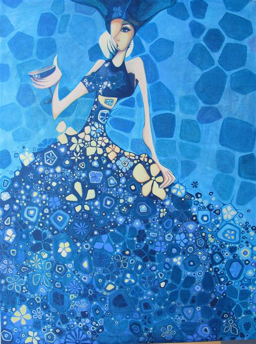 Discover Original Art by Diana Elena Chelaru | Between Blue and Divine acrylic painting | Art for Sale Online at UGallery