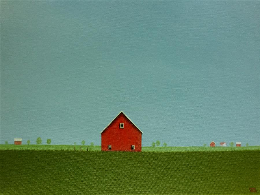 Discover Original Art by Sharon  France | Red Barn on an Overcast Day acrylic painting | Art for Sale Online at UGallery
