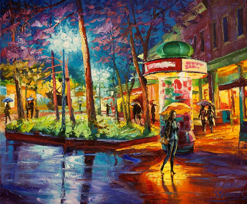 Discover Original Art by Stanislav Sidorov | Yellow Umbrella (Pearl Street, Boulder) oil painting | Art for Sale Online at UGallery