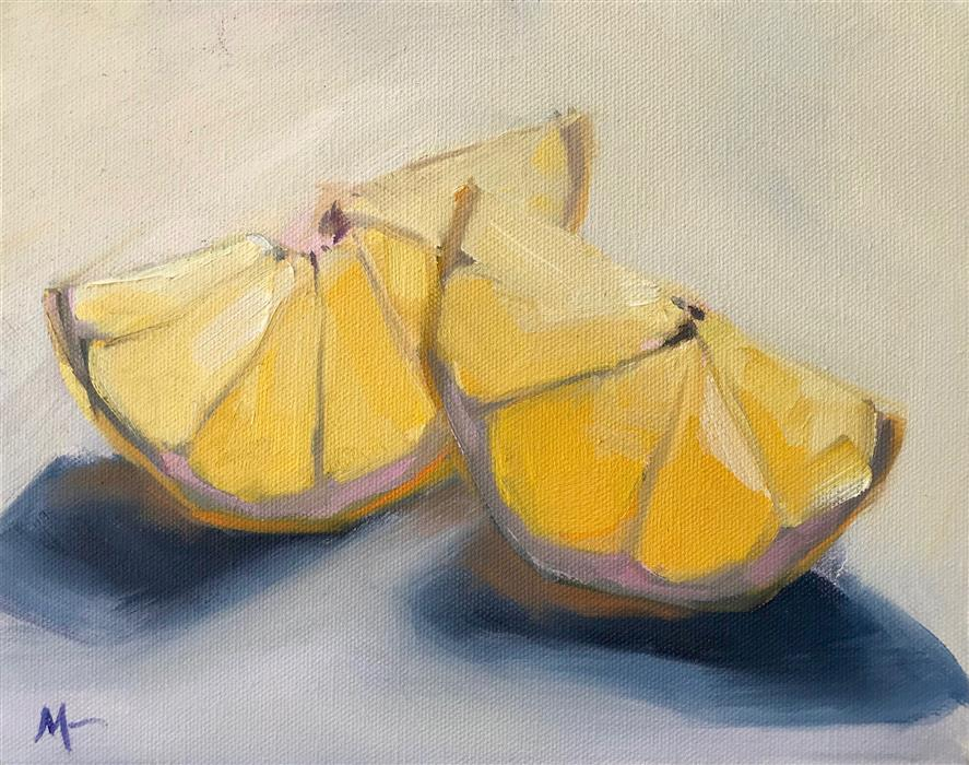 Discover Original Art by Malia Pettit | Two Lemon Wedges oil painting | Art for Sale Online at UGallery