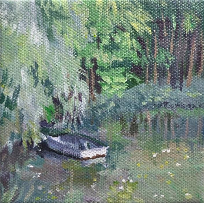 Discover Original Art by Catherine McCargar | Pond Boat under Willows acrylic painting | Art for Sale Online at UGallery