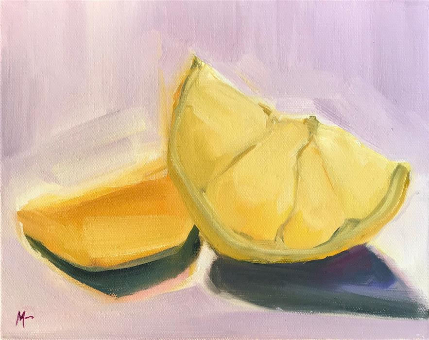 Discover Original Art by Malia Pettit | Fruit Wedges on Lilac Cloth oil painting | Art for Sale Online at UGallery